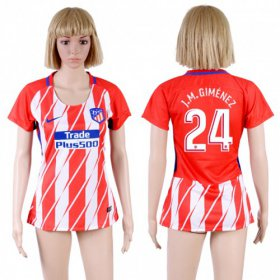 Wholesale Cheap Women\'s Atletico Madrid #24 J.M.Gimenez Home Soccer Club Jersey