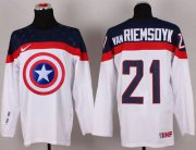 Wholesale Cheap Olympic Team USA #21 James van Riemsdyk White Captain America Fashion Stitched NHL Jersey