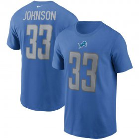 Wholesale Cheap Detroit Lions #33 Kerryon Johnson Nike Team Player Name & Number T-Shirt Blue