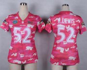 Wholesale Cheap Nike Ravens #52 Ray Lewis Pink Women's Stitched NFL Elite Camo Fashion Jersey