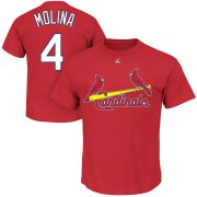 Wholesale Cheap St. Louis Cardinals #4 Yadier Molina Majestic Official Name and Number T-Shirt Red