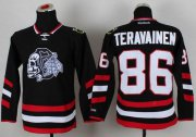 Wholesale Cheap Blackhawks #86 Teuvo Teravainen Black(White Skull) 2014 Stadium Series Stitched Youth NHL Jersey
