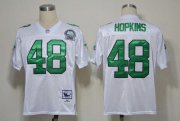 Wholesale Cheap Mitchell And Ness Eagles #48 Wes Hopkins White Stitched Throwback NFL Jersey