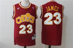 Wholesale Cheap Men\'s Cleveland Cavaliers 23 Lebron James Burgundy Hardwood Classics Swingman Jersey