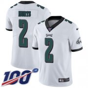 Wholesale Cheap Nike Eagles #2 Jalen Hurts White Youth Stitched NFL 100th Season Vapor Untouchable Limited Jersey