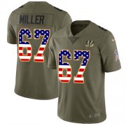 Wholesale Cheap Nike Bengals #67 John Miller Olive/USA Flag Men's Stitched NFL Limited 2017 Salute To Service Jersey