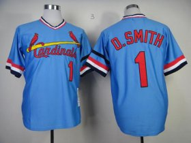 Wholesale Cheap Mitchell And Ness 1982 Cardinals #1 Ozzie Smith Blue Stitched MLB Throwback Jersey
