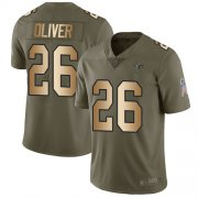 Wholesale Cheap Nike Falcons #20 Isaiah Oliver Olive/Gold Men's Stitched NFL Limited 2017 Salute To Service Jersey