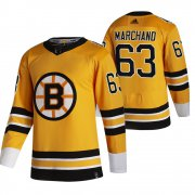 Wholesale Cheap Boston Bruins #63 Brad Marchand Yellow Men's Adidas 2020-21 Reverse Retro Alternate NHL Jersey