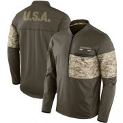Wholesale Cheap Men's Oakland Raiders Nike Olive Salute to Service Sideline Hybrid Half-Zip Pullover Jacket