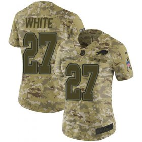 Wholesale Cheap Nike Bills #27 Tre\'Davious White Camo Women\'s Stitched NFL Limited 2018 Salute to Service Jersey