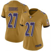 Wholesale Cheap Nike Ravens #27 J.K. Dobbins Gold Women's Stitched NFL Limited Inverted Legend Jersey