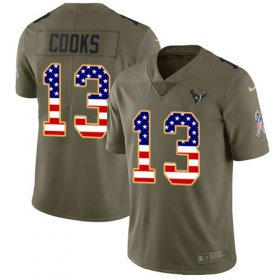 Wholesale Cheap Nike Texans #13 Brandin Cooks Olive/USA Flag Youth Stitched NFL Limited 2017 Salute To Service Jersey