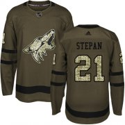 Wholesale Cheap Adidas Coyotes #21 Derek Stepan Green Salute to Service Stitched NHL Jersey