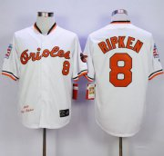 Wholesale Cheap Mitchell And Ness 1989 Orioles #8 Cal Ripken White Throwback Stitched MLB Jersey