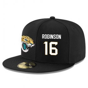 Wholesale Cheap Jacksonville Jaguars #16 Denard Robinson Snapback Cap NFL Player Black with White Number Stitched Hat