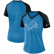 Wholesale Cheap Women's Detroit Lions Nike Blue-Black Top V-Neck T-Shirt