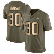 Wholesale Cheap Nike Broncos #30 Phillip Lindsay Olive/Gold Men's Stitched NFL Limited 2017 Salute To Service Jersey
