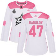 Cheap Adidas Stars #47 Alexander Radulov White/Pink Authentic Fashion Women's 2020 Stanley Cup Final Stitched NHL Jersey