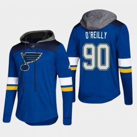 Wholesale Cheap Blues #90 Ryan O\'Reilly Blue 2018 Pullover Platinum Hoodie