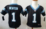 Wholesale Cheap Toddler Nike Panthers #1 Cam Newton Black Team Color Stitched NFL Elite Jersey