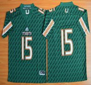 Wholesale Cheap Miami Hurricanes #15 Brad Kaaya Green 2015 College Football Jersey
