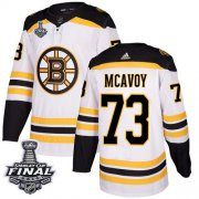 Wholesale Cheap Adidas Bruins #73 Charlie McAvoy White Road Authentic 2019 Stanley Cup Final Stitched NHL Jersey