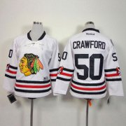 Wholesale Cheap Blackhawks #50 Corey Crawford White 2015 Winter Classic Stitched Youth NHL Jersey
