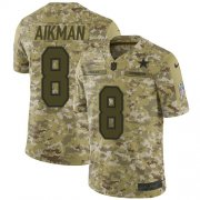 Wholesale Cheap Nike Cowboys #8 Troy Aikman Camo Men's Stitched NFL Limited 2018 Salute To Service Jersey