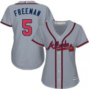 Wholesale Cheap Braves #5 Freddie Freeman Grey Road Women's Stitched MLB Jersey