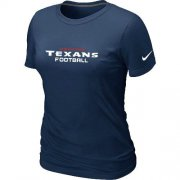 Wholesale Cheap Women's Nike Houston Texans Sideline Legend Authentic Font T-Shirt D.Blue