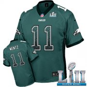 Wholesale Cheap Nike Eagles #11 Carson Wentz Midnight Green Team Color Super Bowl LII Men's Stitched NFL Elite Drift Fashion Jersey