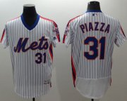 Wholesale Cheap Mets #31 Mike Piazza White(Blue Strip) Flexbase Authentic Collection Alternate Stitched MLB Jersey