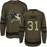 Wholesale Cheap Adidas Sharks #31 Martin Jones Green Salute to Service Stitched Youth NHL Jersey