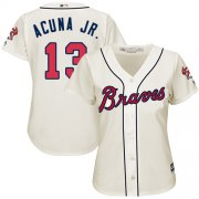 Wholesale Cheap Braves #13 Ronald Acuna Jr. Cream Alternate Women's Stitched MLB Jersey