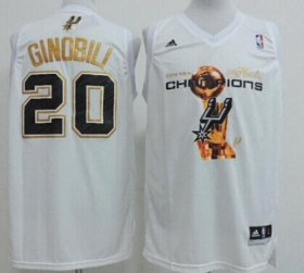Wholesale Cheap San Antonio Spurs #20 Manu Ginobili Revolution 30 Swingman 2014 Champions White Jersey