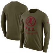 Wholesale Cheap Men's Washington Redskins Nike Olive Salute to Service Sideline Legend Performance Long Sleeve T-Shirt
