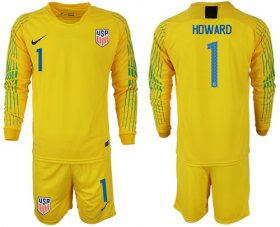 Wholesale Cheap USA #1 Howard Yellow Goalkeeper Long Sleeves Soccer Country Jersey