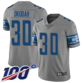 Wholesale Cheap Nike Lions #30 Jeff Okudah Gray Youth Stitched NFL Limited Inverted Legend 100th Season Jersey