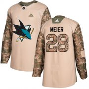 Wholesale Cheap Adidas Sharks #28 Timo Meier Camo Authentic 2017 Veterans Day Stitched Youth NHL Jersey