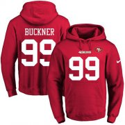 Wholesale Cheap Nike 49ers #99 DeForest Buckner Red Name & Number Pullover NFL Hoodie