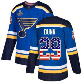 Wholesale Cheap Adidas Blues #29 Vince Dunn Blue Home Authentic USA Flag Stanley Cup Champions Stitched NHL Jersey