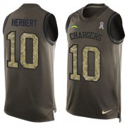 Wholesale Cheap Nike Chargers #10 Justin Herbert Green Men's Stitched NFL Limited Salute To Service Tank Top Jersey
