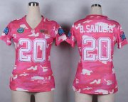 Wholesale Cheap Nike Lions #20 Barry Sanders Pink Women's Stitched NFL Elite Camo Fashion Jersey