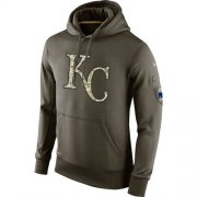 Wholesale Cheap Men's Kansas City Royals Nike Olive Salute To Service KO Performance Hoodie