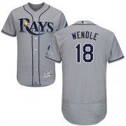 Wholesale Cheap Rays #18 Joey Wendle Grey Flexbase Authentic Collection Stitched MLB Jersey