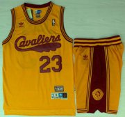 Wholesale Cheap Cleveland Cavaliers #23 LeBron James 2009 Yellow Hardwood Classics Yellow Revolution 30 Swingman Jersey Short Suits