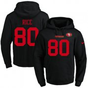 Wholesale Cheap Nike 49ers #80 Jerry Rice Black Name & Number Pullover NFL Hoodie