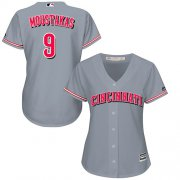 Wholesale Cheap Reds #9 Mike Moustakas Grey Road Women's Stitched MLB Jersey