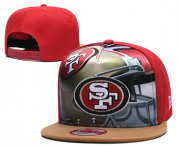 Wholesale Cheap 49ers Team Logo Red Adjustable Leather Hat TX